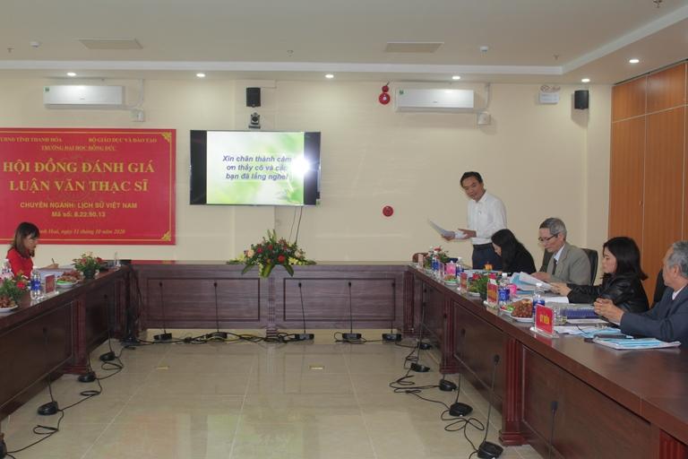 Lễ bảo vệ luận văn thạc sĩ chuyên ngành Lịch sử Việt Nam